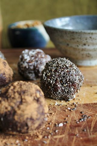 Balls: 1 cup walnuts 1/2 cup oats 1 1/2 cups dates 2 tablespoons carob powder Dash of salt and vanilla, if desired   Coatings: Coconut flakes Carob powder Chia seeds