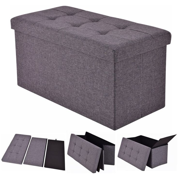 costway folding rect ottoman bench storage stool box footrest furniture decor dark gray grey