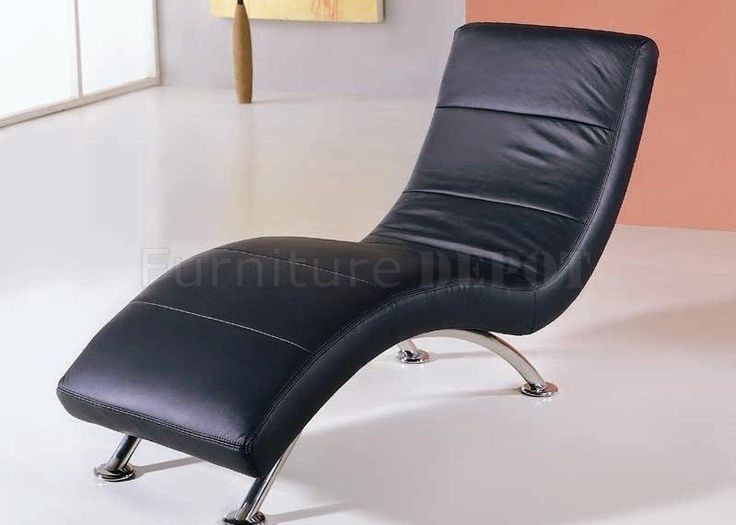 office chaise. black color leather upholstery modern chaise lounge office