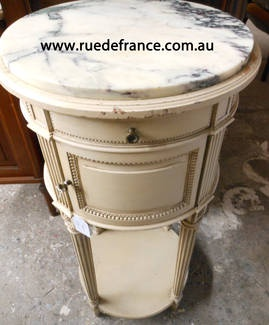 ANTIQUE FRENCH HAND PAINTED BED SIDE CABINET with MARBLE TOP