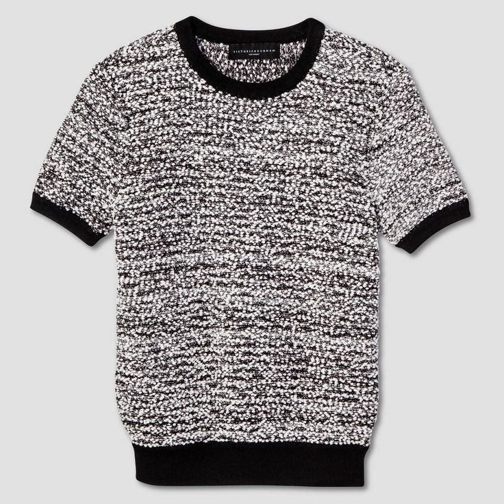 Women's Black and White Short Sleeve Sweater Knit Top XL - Victoria Beckham for Target, Black/White