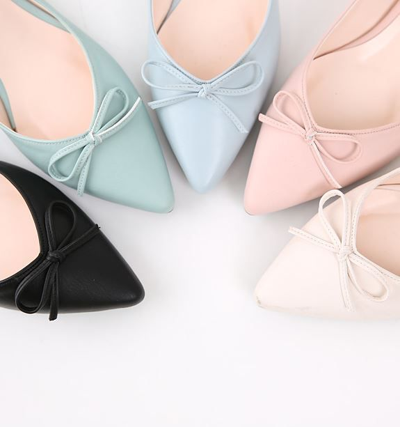 StyleOnme_Pointed Ribbon Flats #flats #flatshoes #ribbon #pastelcolors