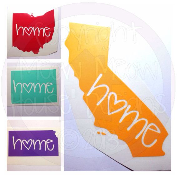 Home State Decal - Cute Custom Decal for Car or Tablet - State Pride - State Love - 4 in Sticker on Etsy, $7.00