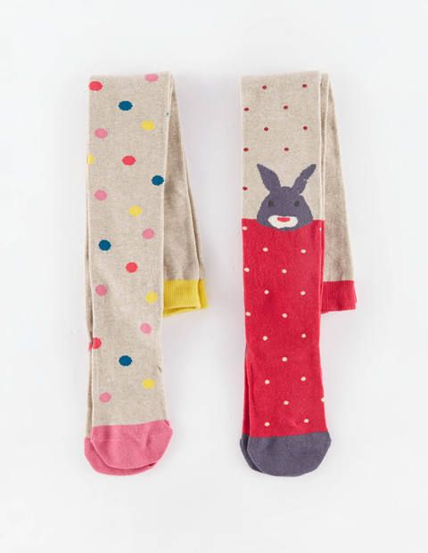 2 Pack Patterned Tights from Mini Boden--raspberry and pink fondant, great with Hanna pincord skirt