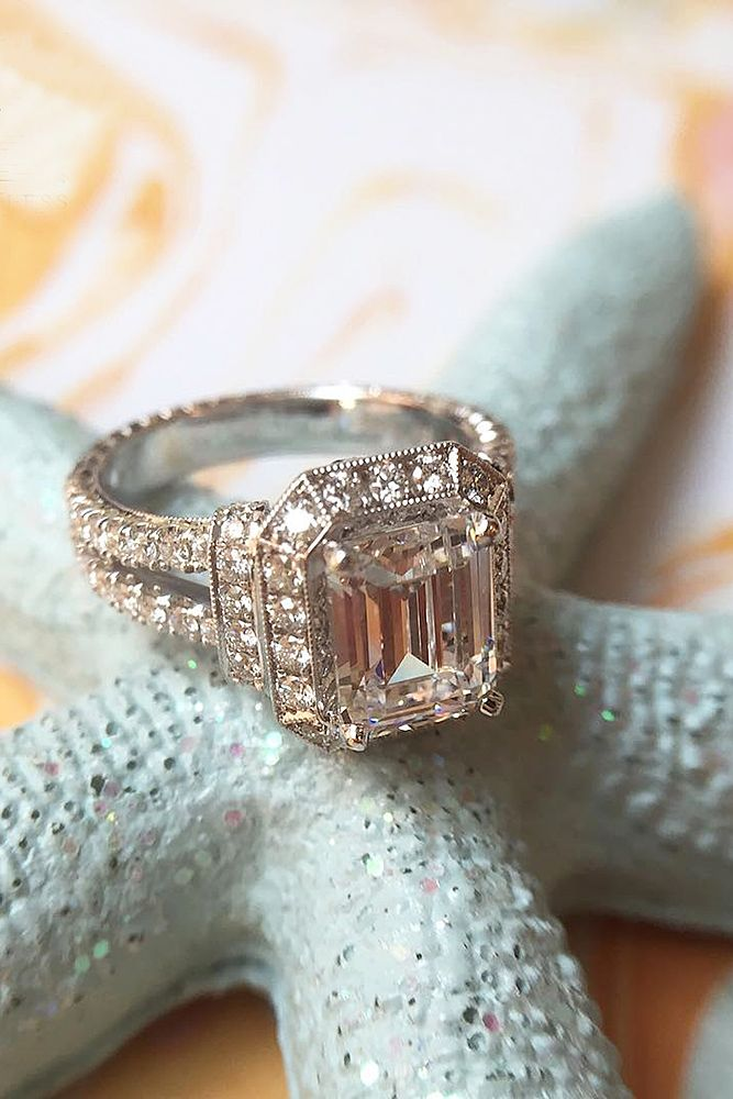 Eye-Catching Emerald Cut Engagement Rings ❤ See more: http://www.weddingforward.com/emerald-cut-engagement-rings/ #weddings