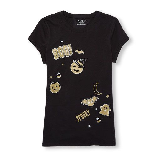 s Short Sleeve Glitter Halloween Emoji Graphic Tee - Black T-Shirt - The Children's Place