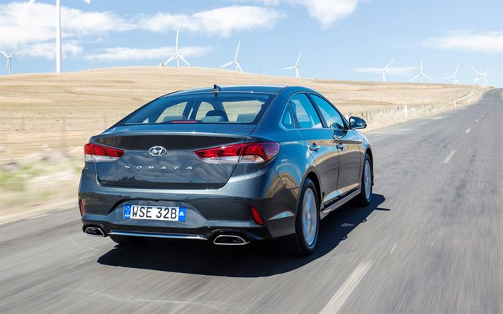 Download wallpapers Hyundai Sonata, 2018, rear view, new sonata, business class, sedan, new cars, Hyundai