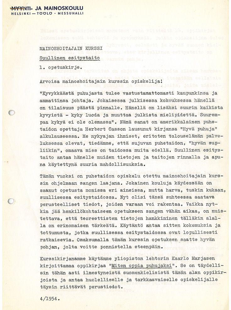 Mainoshoitajain kurssin opiskeluaineistoa vuodelta 1954. Aineisto lähetettiin osallistujille kirjeitse