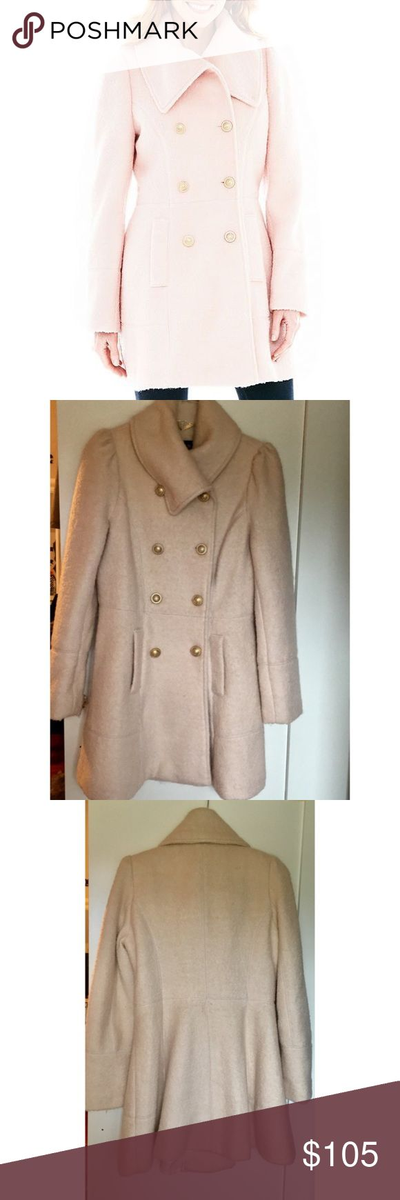 Brand New! Worthington Pale Pink Wool Coat This coat is the epitome of feminine and pretty! Its brand new and has never been worn. (Backstory: Its a size small but it fits a 2-4 and I'm more of a 0-2 so it's not the perfect fit for my petite frame 😞) But someone needs to show off this coat!                                                 🔸Double breasted coat w/ elegant gold buttons            🔸Feminine flare design at bottom                                    🔸Never Worn, extra burtons…