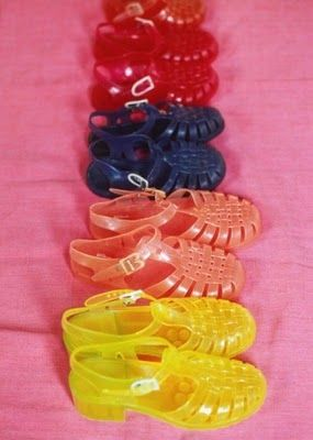 Jelly shoes. I had zee blue.