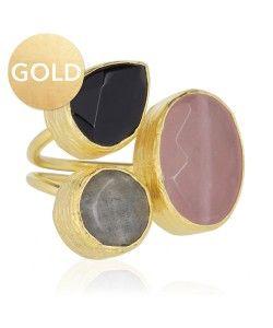ring drie stenen goud roze
