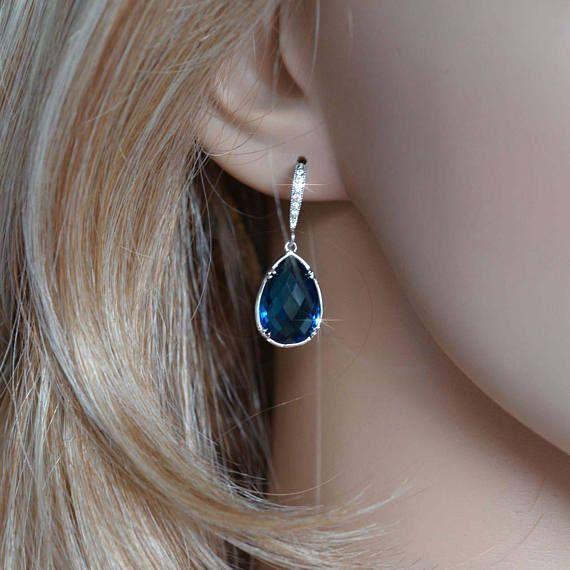 Checkerboard Pear Cut Montana Dark Blue Crystal & Cubic Zirconia Dangle Teardrop Earrings, Bridal, Wedding (Sparkle-2843)