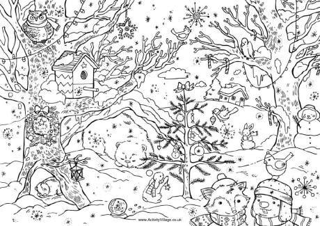 Christmas woods:  Bird house in tree.  Animal hibernating in nook.