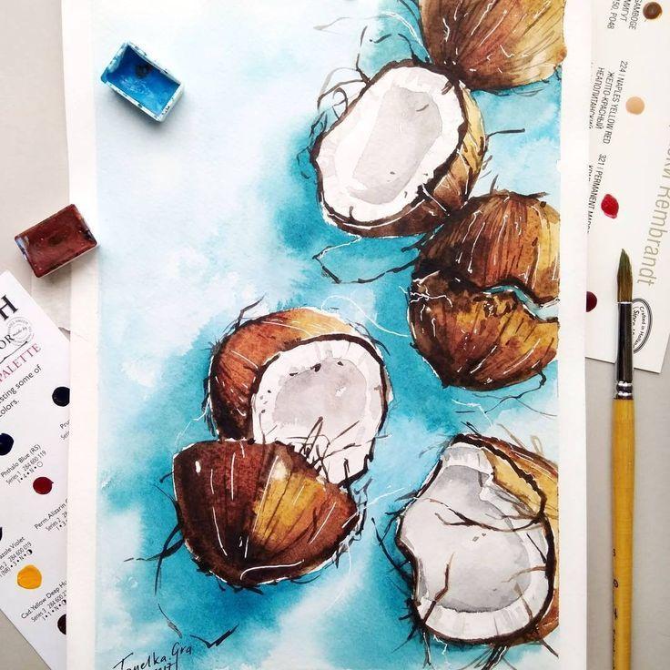 Coconut Watercolor Plant Tropical Watercolor Illustration