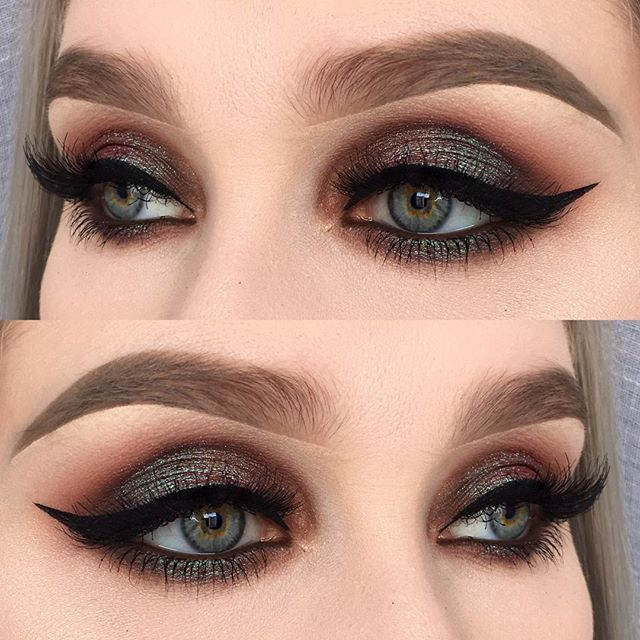 I used @makeupaddictioncosmetics flaming Love palette (shadows: Savannah dessert and brownie) | @inglot_cosmetics body sparkles 71, kohl pencil 03, eyeliner gel 77 and falsies 30N | @anastasiabeverlyhills brow definer in taupe ✨ @madladyse #madlady #vegas_nay #wakeupandmakeup #makeupaddict #makeupdolls #makeuplover #fiercesociety #makeupartist #motd #eotd #fotd #makeupaddictioncosmetics