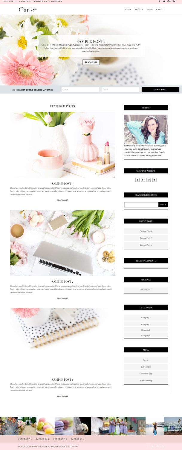 Carter - WordPress Responsive Blog Theme Template // Divi Child Theme // Custom Website for Bloggers // Feminine Custom Website Design by Prettywebdesign on Etsy