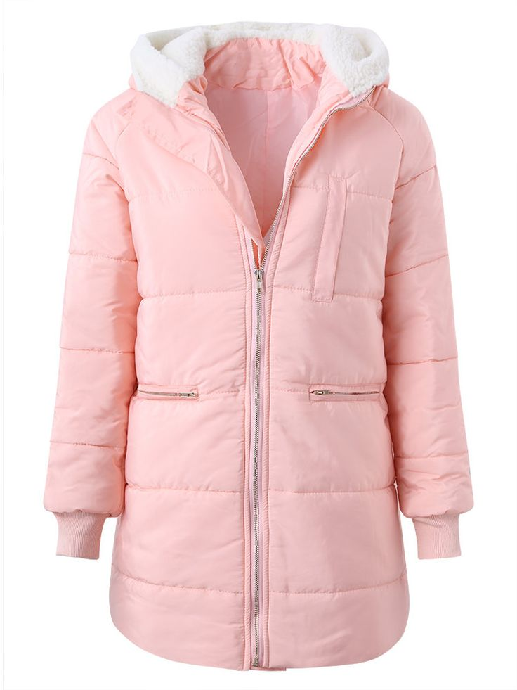 Casual Plush Patchwork Hooded Long Sleeve Women Down Coats