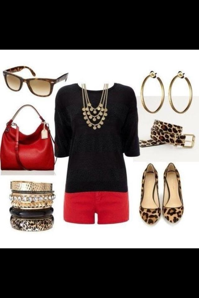 Red shorts and leopard flats.