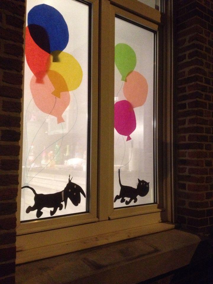 Takkie en Siepie vieren feest! Decoratie met zijdepapier en uitgeknipte silhouetten.