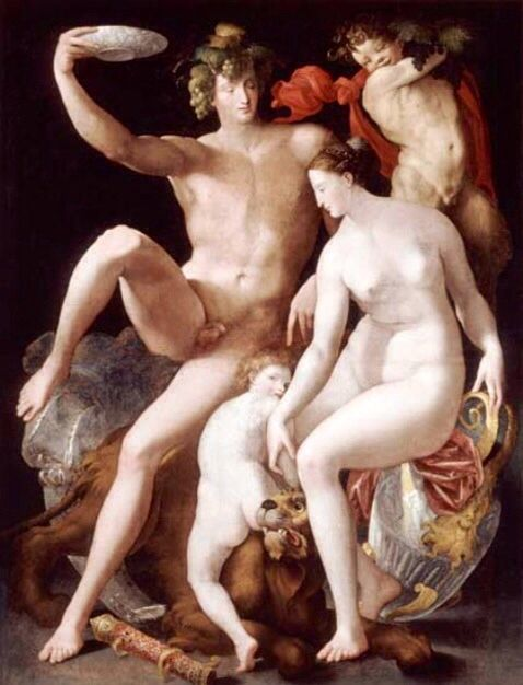 #Bacchus, #Venus and #Cupid is a painting in oil on canvas (209, .5 cm 5x161) attributed to #Rosso #Fiorentino, 1531-1532 dated to about and preserved in the Musée national d'Histoire et d'art in Luxembourg. Wikipedia