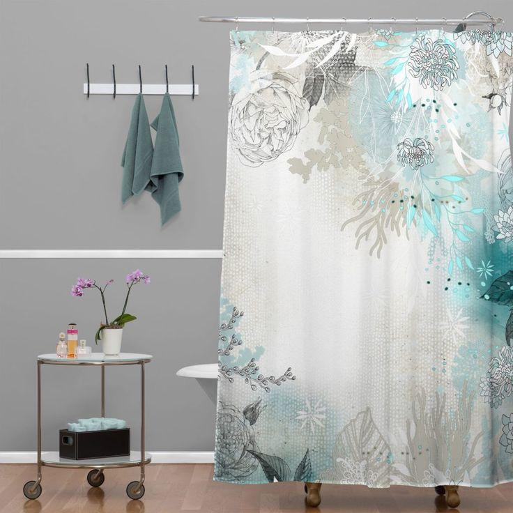 Teal Coral And Gray Shower Curtain