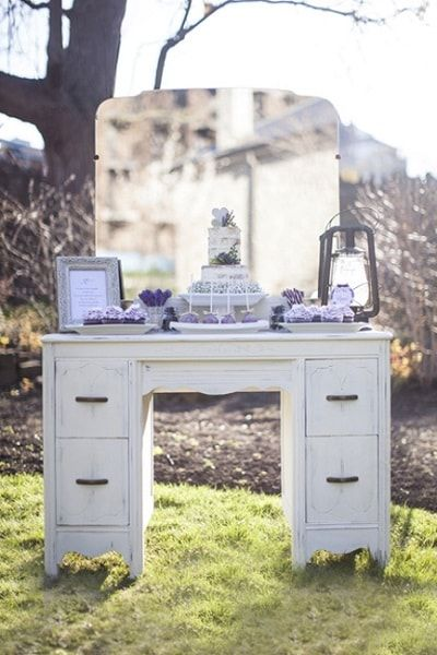 Vintage sweets table in white and purple. Vanity by @warehouse84 Styling @dawnjeanineEV