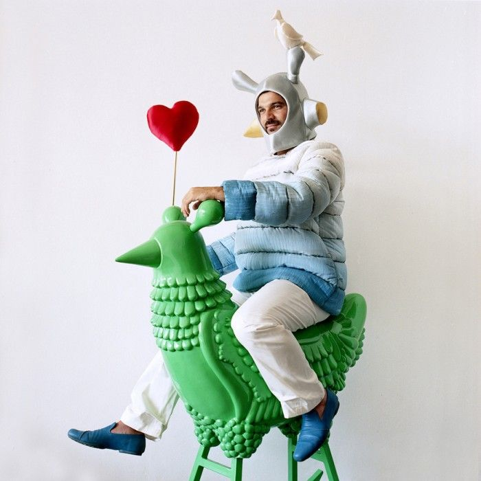 Jaime Hayon riding the Green Chicken