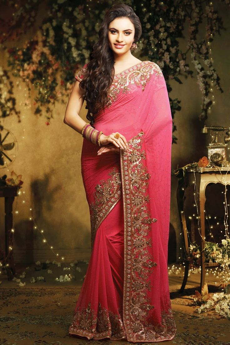 Glamorous Peach Colour Net Designer Wedding Saree Is Crafted By Pure Resham Embroidery, Diamond, Cut Dana, Stone@ http://www.shadesandyou.com/product-category/sarees/   #DesignerBridalSarees  #SareesForWedding  #PartyWearSuits  #PartyWearSalwarKameez