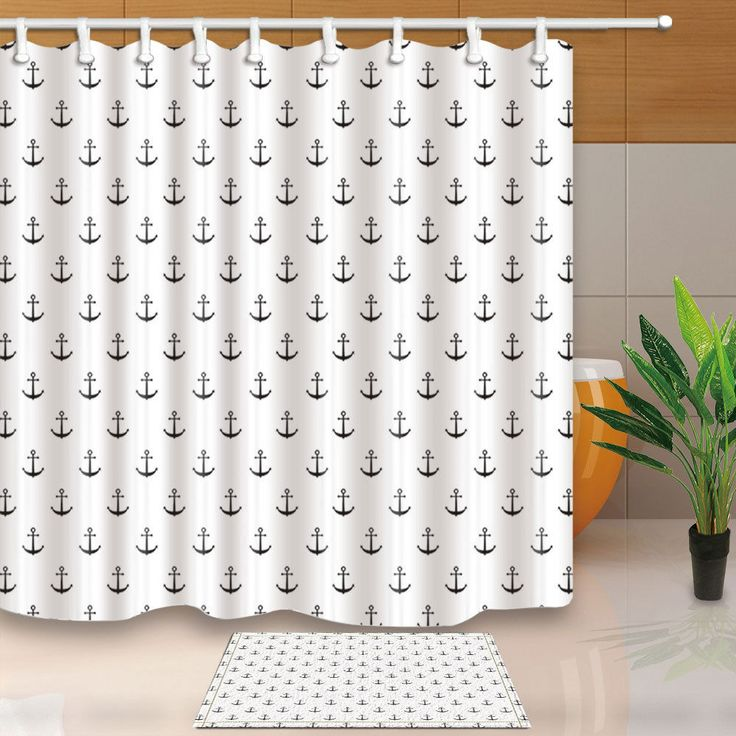 Details About Nautical Black White Anchor Shower Curtain