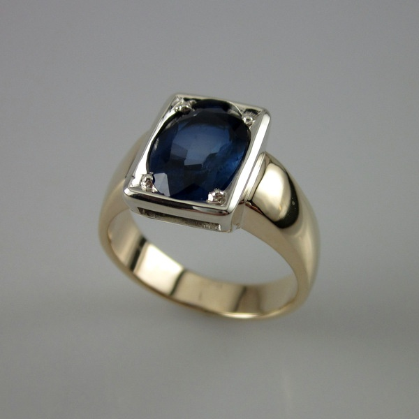 Two Tone Synthetic Sapphire Ring | Geoff Taylor Goldsmith