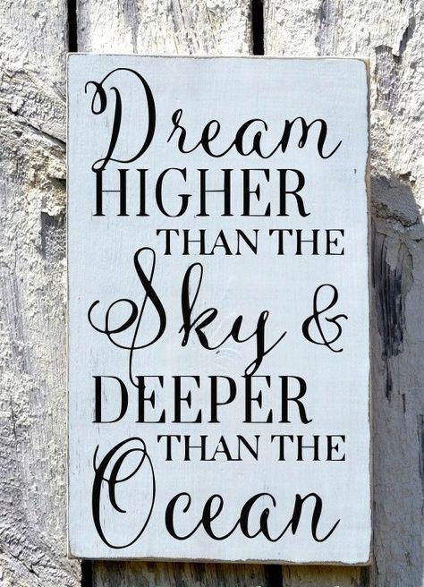 Beach Sign, Nautical Nursery Decor, Handpainted Calligraphy Quote Wood Signs, Coastal Wall Art, Inspirational Kids Dream Higher Than The Sky Deeper Than Ocean Beachy Baby Boy Girl Room Gift Ideas