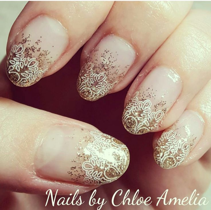 Glitter fade and nail stamping manicure- Calgel Manicure