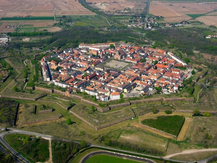 Neuf-Brisach- Alsace- An aerial photograph showing the layout of the town and the way it was built as a fortification.