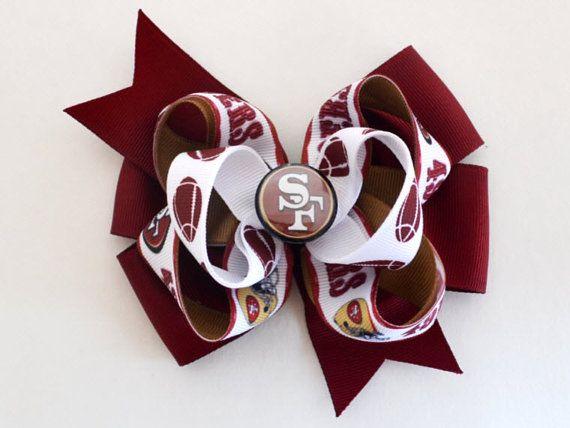 Girls San Francisco 49ers Football Hair Bow by MommysBowCreations, $7.00