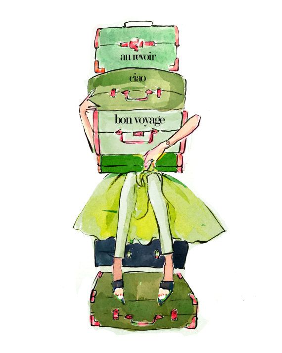 Travel Art Print: Suitcase Stack by AThingCreated on Etsy