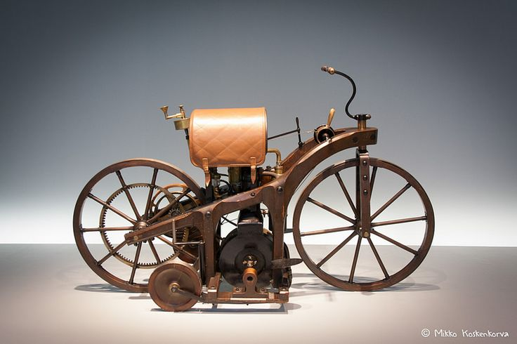 The first motorbike on display at Mercedes-Benz Museum, Stuttgart