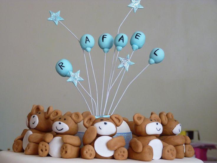 Sugarpaste bears from Raf's Christening cake made by LadyGrayTea