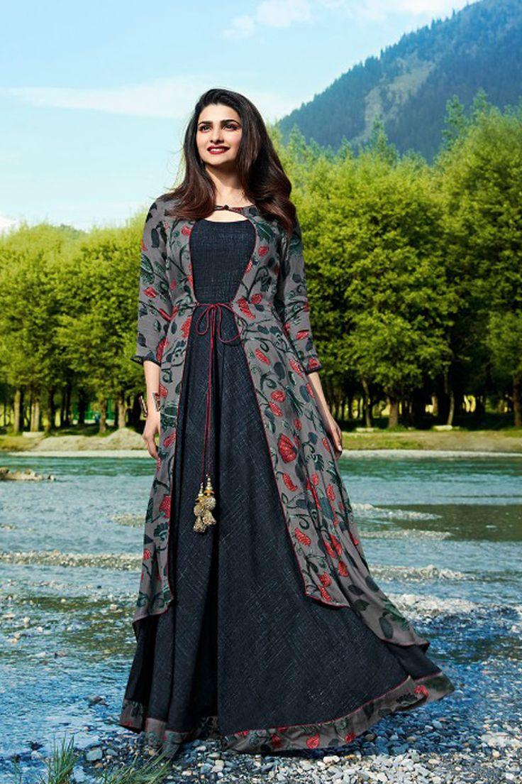 Grey-Fancy-Festive-Wear-Crepe-Floor-Length-Gown-Style ...