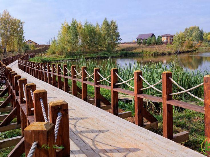 Коттеджный #поселок #Экопарк. Дорога вдоль пруда