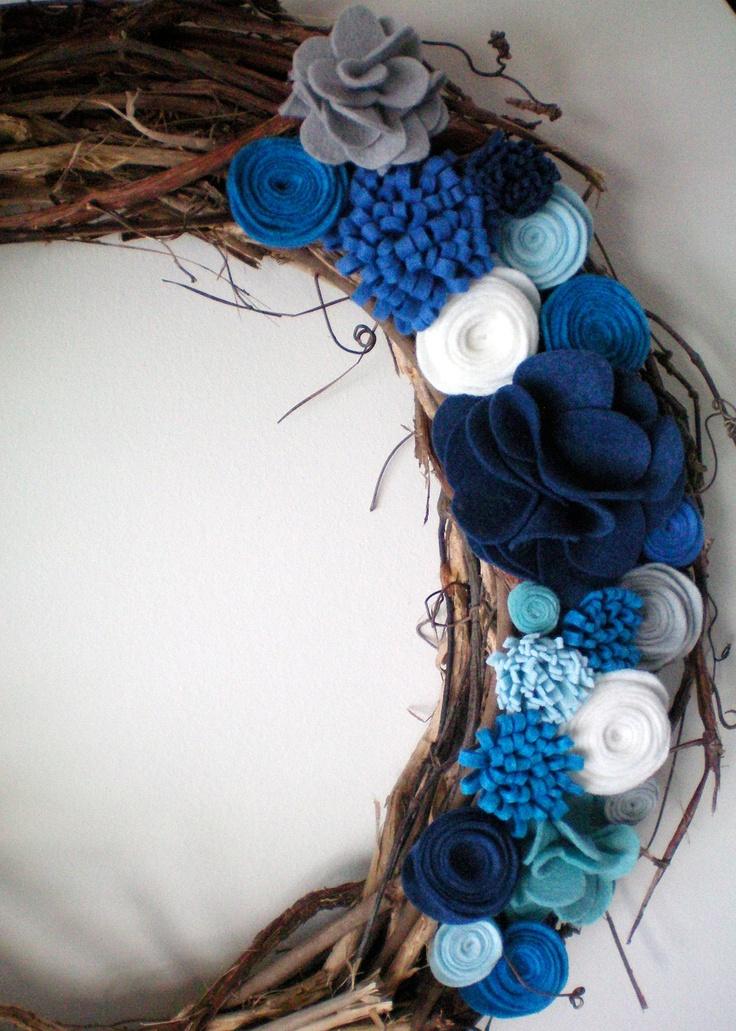 felt flower wreath, winter wreath, holiday wreath, grapevine wreath.