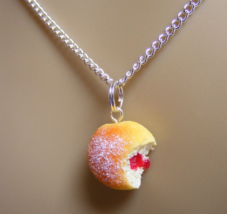 Food Jewelry, Jelly Donut Necklace, Jam Doughnut Necklace, Donut Pendant, Miniature Food, Mini Food, Do Nut Necklace, Kawaii Necklace, Sugar by NeatEats on Etsy https://www.etsy.com/listing/233707343/food-jewelry-jelly-donut-necklace-jam