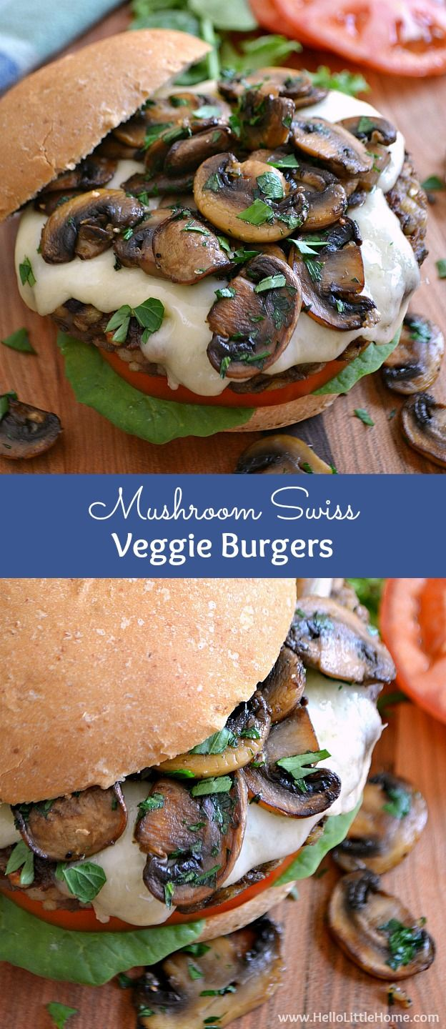 mushroom swiss veggie burgers rezept vegetarisch grillen vegetarische gerichte und vegetarisch. Black Bedroom Furniture Sets. Home Design Ideas