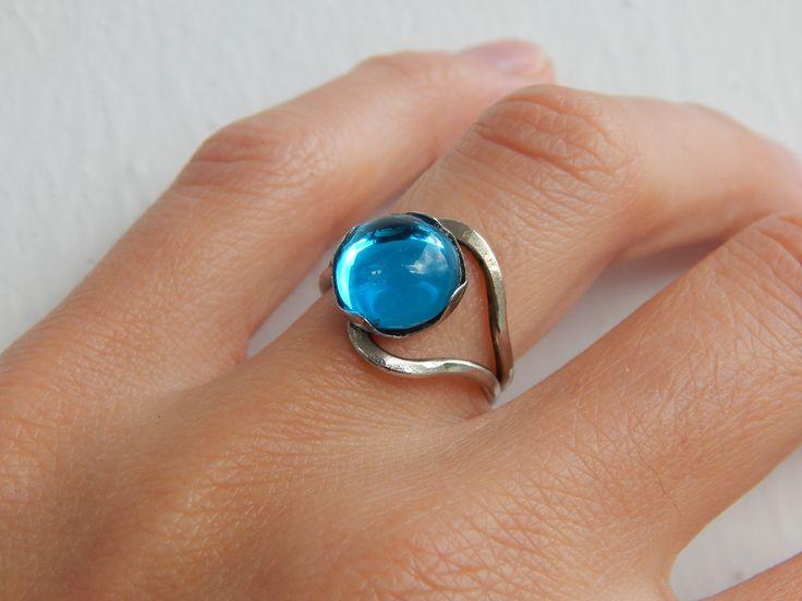 """Bague """"Aya"""" argentée et bleu lagon : Bague par bijou-lie"""