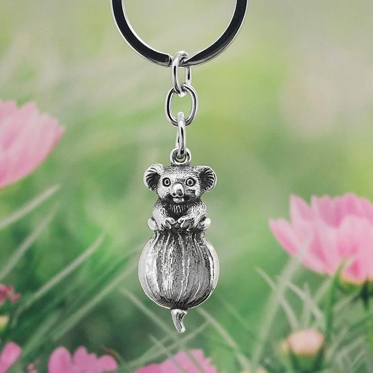 Australian Keyrings Owl Keyring with Turquoise Magnesite Charm Australian Made Pewter Gift Owl Jewellery