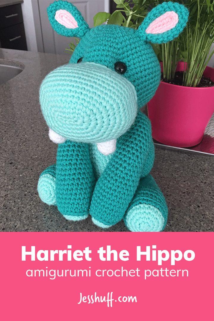 Free pattern! Harriet the Hippo Amigurumi Pattern #crochet