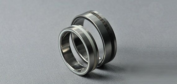 Titanium Ring with Ebony and Ivory inlay by Fordos on Etsy