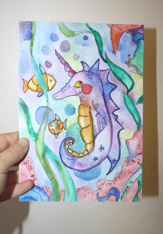 Original Painting Under The Sea Fantasy Sea Horse Nursery Art for kids Fun Whimsical Fairy Tale by Niina Niskanen