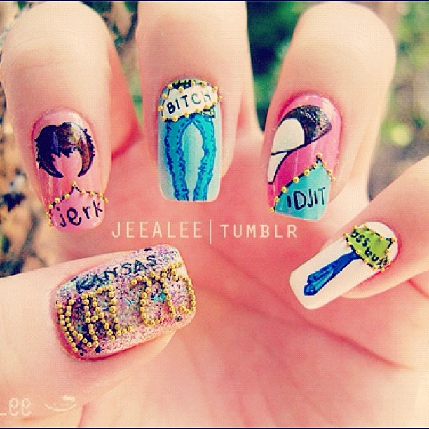 71 best nail art ideas images on pinterest nail nail 4th of love to have these nails based on tv show supernatural jerk idjit bitch prinsesfo Gallery