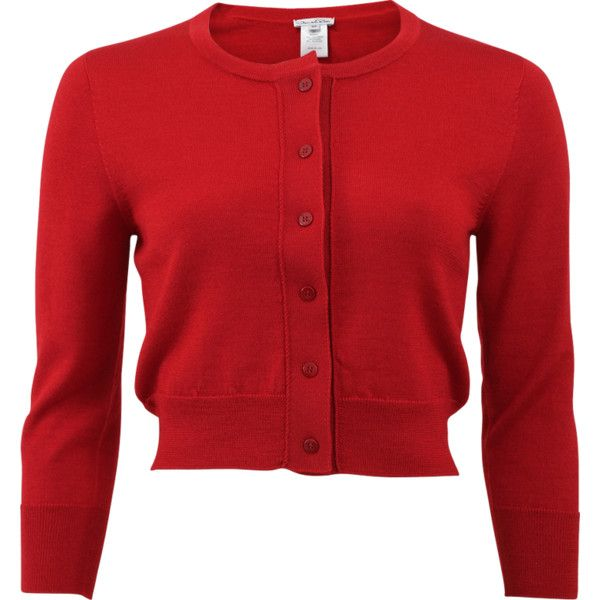 Oscar De La Renta Cropped Cardigan ($990) ❤ liked on Polyvore featuring tops, cardigans, red cropped cardigan, red cardigan, slim fit cardigan, button front cardigan and ribbed cardigan