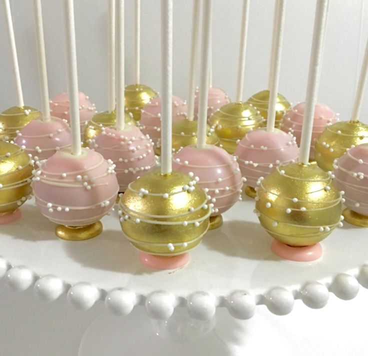 Upside down pink & gold Cakepops with flat bottom base and stripes/swirl...